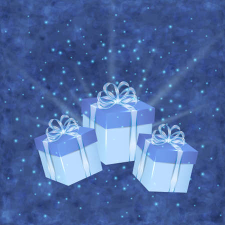 desember: Christmas blue background with gift boxes and glare Illustration