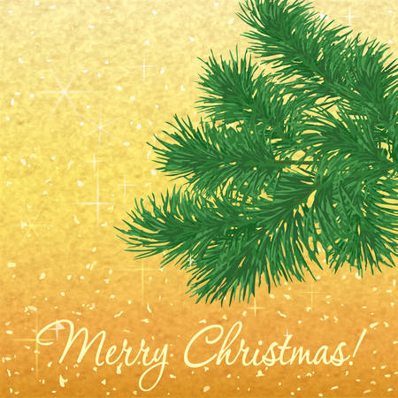 Christmas background with fir twigs on gold backgroound Vector