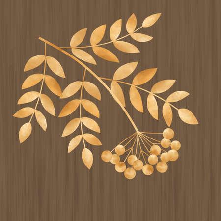 rowanberry: Beautiful  illustration  with autumn leaves  and rowanberry Illustration