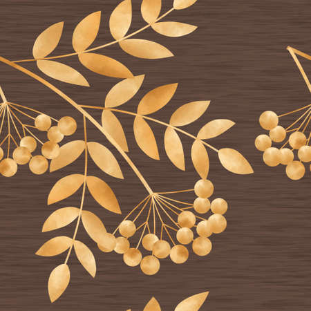 rowanberry: Beautiful seamless illustration  with gold autumn leaves and rowan-berry