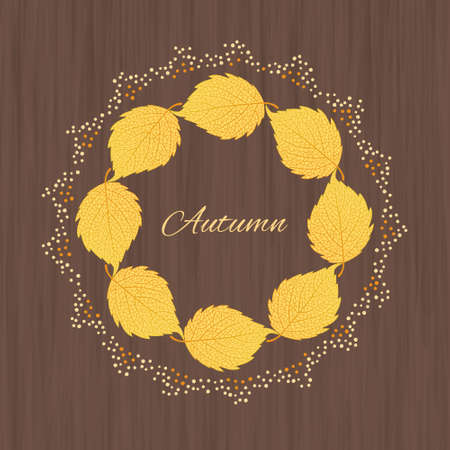aspen leaf: Beautiful  illustration  with autumn leaves on wooden background