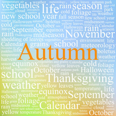 equinox: Word tag cloud concept illustration of autumn season