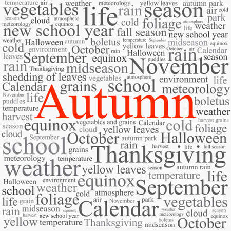 equinox: Word tag cloud concept illustration of autumn season  on  white background