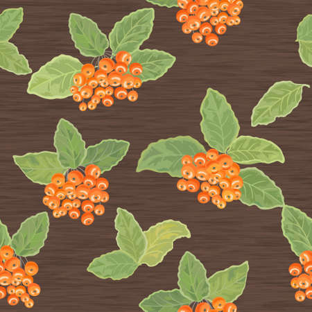 Seamless pattern with leaves and rowanberries  on wooden background Vector