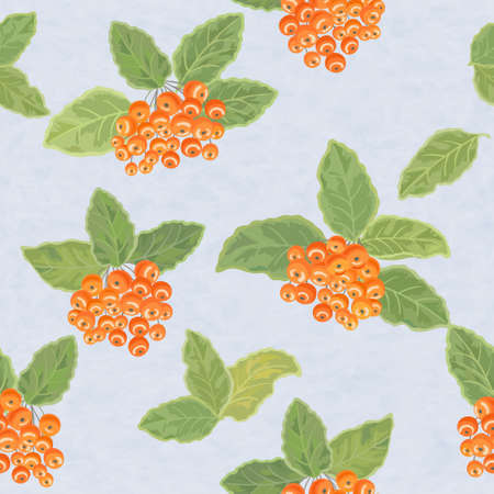 Seamless vector pattern with rowan leaves and rowanberries Vector