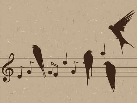 Elegant abctract illustration of music notes with birds