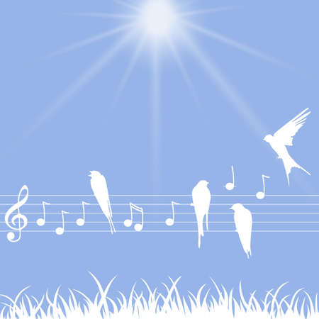 Elegant abctract illustration of music notes with birds Vector