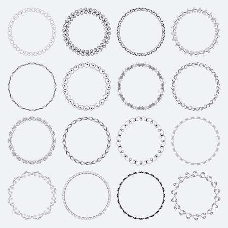 フレームワークのデザインやバナーの円形および円形の装飾的なパターンのセット  イラスト・ベクター素材