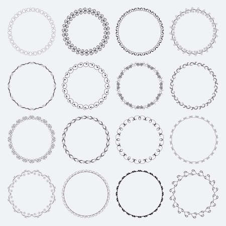 verschnörkelt: Set aus runden und kreisförmige dekorative Muster für Design-Frameworks und Banner