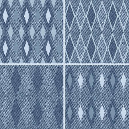 sewed: Set  seamless pattern with denim jeans background Illustration