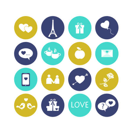 ollection: ?ollection of modern flat icons, love and romance theme