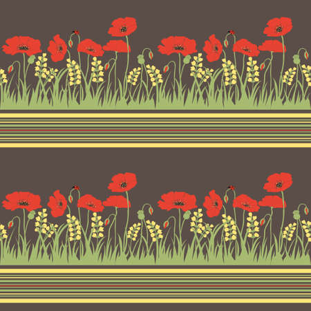 Seamless pattern with grass, poppies  and spikelets Vector