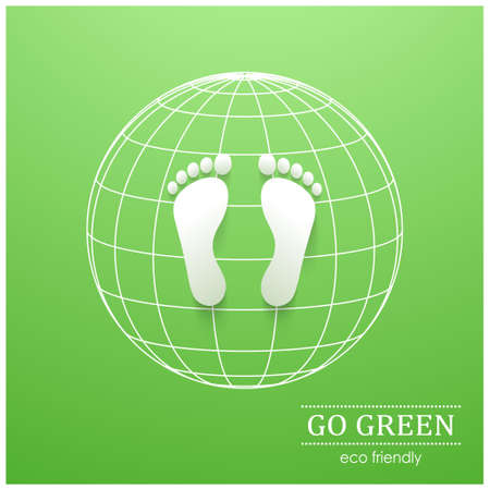 green footprint: Illustration of eco friendly footprints on green background