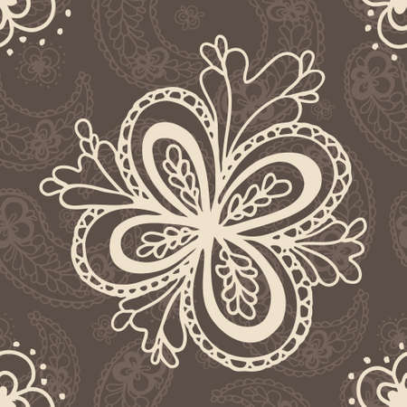 Vintage hand drawn seamless paisely background Vector