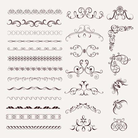 Set Vintage Decorative Frames Borders Corner For Design Frameworks