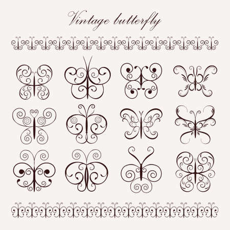 frameworks: Set vintage decorative butterflies and borders for design frameworks and banners. Can use for birthday card, wedding invitations
