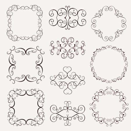 Set Vintage Decorative Elements Frames Borders Corner For