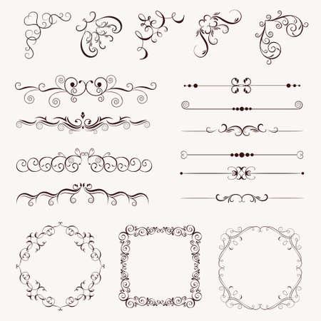 Set vintage decorative elements, frames, borders, corner for design, Can use for birthday card, wedding invitations.