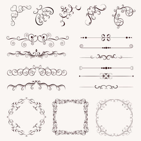 Set vintage decorative elements, frames, borders, corner for design, Can use for birthday card, wedding invitations.
