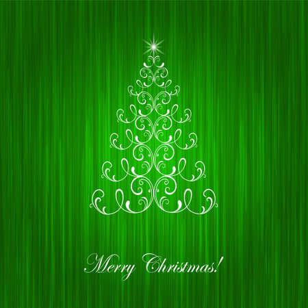 christmastree: Elegant christmas card with Christmas-tree and  flame Illustration