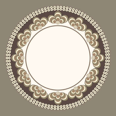 brass plate: Round frame with unusual fantastic ornament Illustration