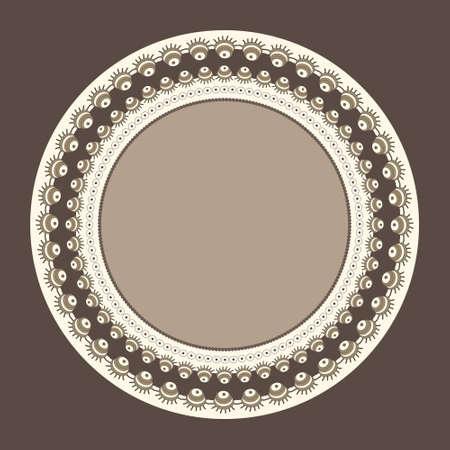 fantastic: Round frame with unusual fantastic ornament Illustration