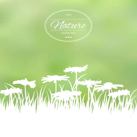 Spring card with flowers on green background