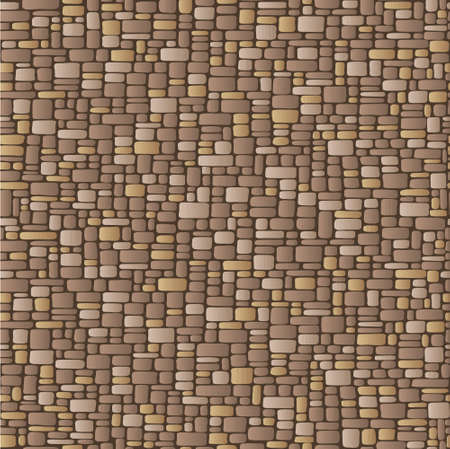 mosaic floor: Abstract illustration of a stone wall, beige and brown
