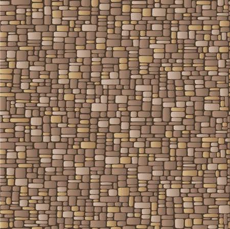 ceramica: Ilustración abstracta de un muro de piedra, beige y marrón Vectores