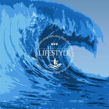 vague ocean: Illustration r�aliste d'une grande vague de l'oc�an Illustration