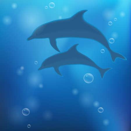 underwater background: Underwater background with dolphins. Vector illustration. Illustration