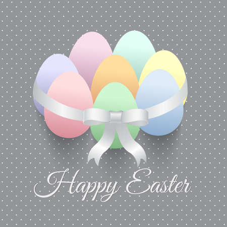 pastel tone: Elegant Easter greeting card with eggs and bow.