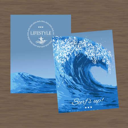 storm tide: Set realistic illustrations of  ocean wave Illustration