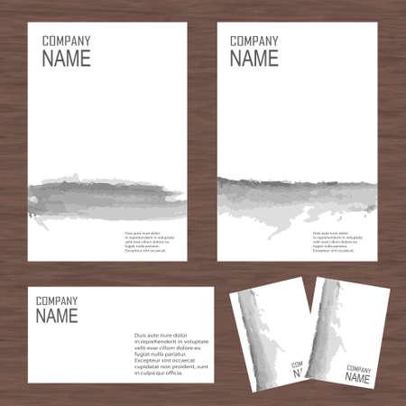 Vector corporate identity, watercolor design. Geometric banner design template. Brand, visualization, corporate identity business set