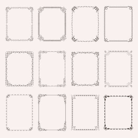 Set vintage decorative frames and borders