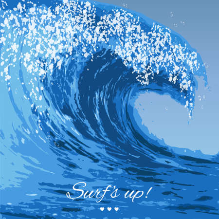 Realistic illustration of a large ocean wave