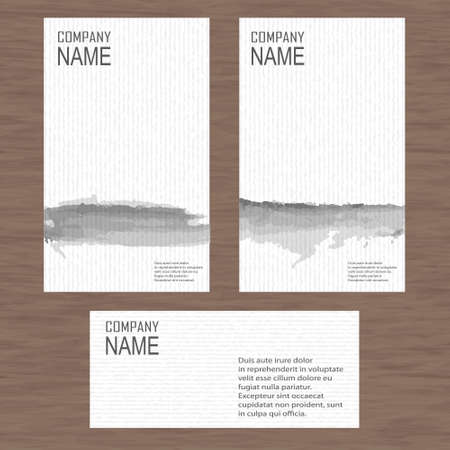 ci: Set of modern stylized business cards with a gray stripe watercolor Illustration