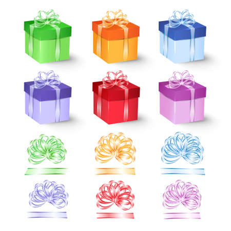 ribbons and bows: Set of colorful gift boxes with bows and ribbons. Vector illustration. Illustration