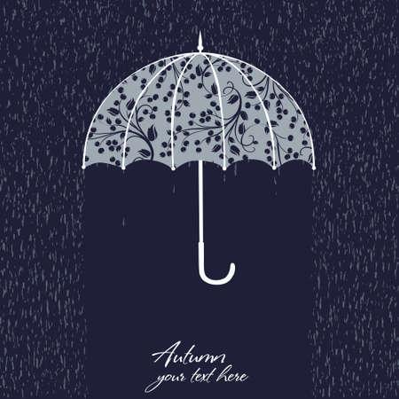 gotas de agua: Elegante hermosa ilustración retro con el paraguas