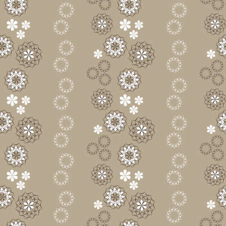 abstract flowers: Elegant seamless pattern with abstract flowers, beige and brown Illustration