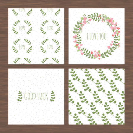 textfield: Set of fresh cards with floristic patterns. Good for businesses cards or corporate design