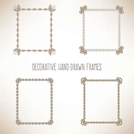 decorative frames: Set hand drawn decorative frames and borders Illustration