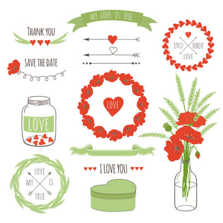 glass jar: Set of vintage styled design romantic hipster icons and elements