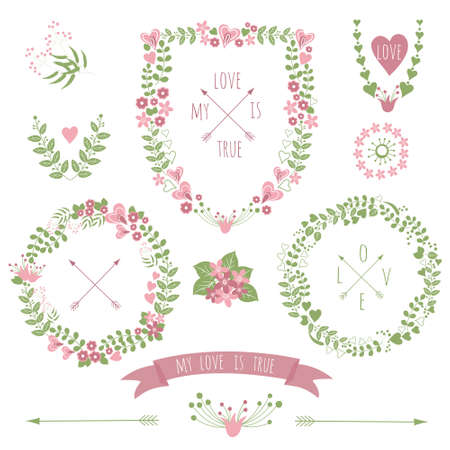 greeting cards: Collection of floral retro frames for wedding invitations and greeting cards