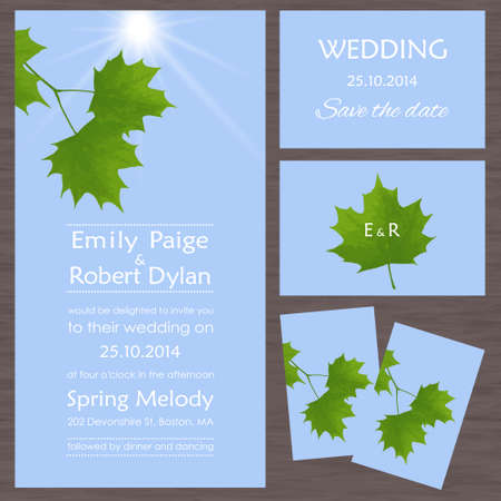 vows: Set of wedding cards or invitations with maple leaves against the sky