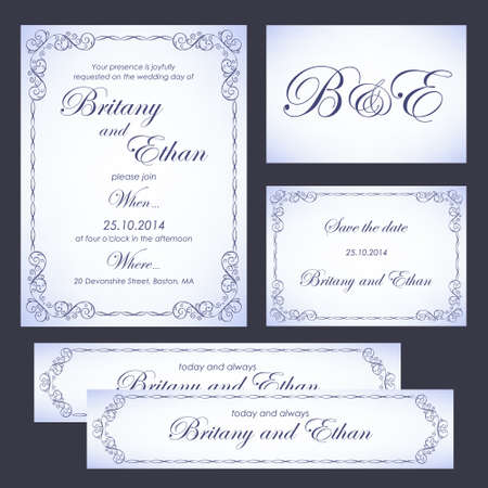 the spouse: Set of wedding cards or invitations, vintage style