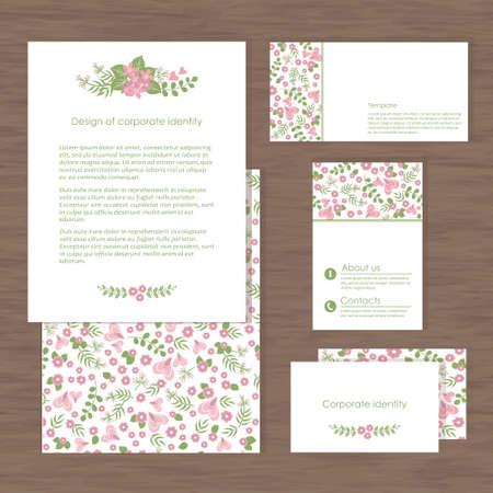 Vector corporate identity, romantic flower design. Geometric banner design template. Brand, visualization, corporate identity business set