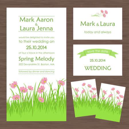 fiori di campo: Set di carta di nozze o invito con meravigliosi fiori selvatici Vettoriali