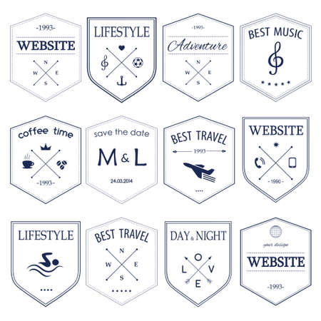 styled: Set of vintage styled  hipster design icons Illustration