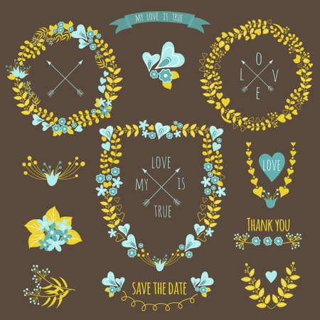vintage styled design: Set of vintage styled design romantic hipster icons